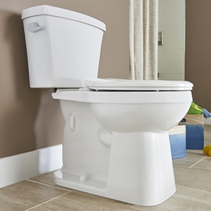 Side view of a toilet