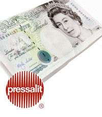 £5 note with a Pressalit logo